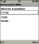 DictionaryForMIDs English-Spanish screenshot 1/1