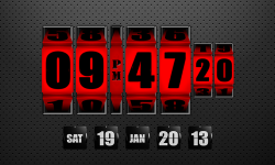 3D Rolling Clock Widgets RED screenshot 1/1