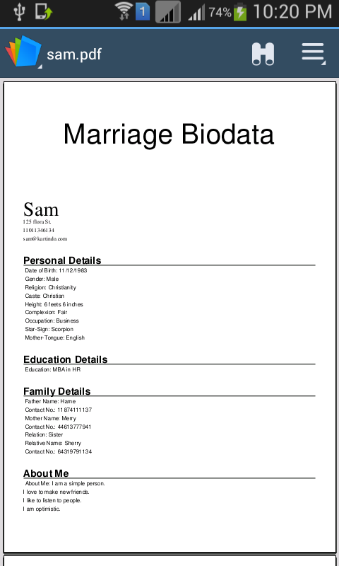 how to write height in biodata
